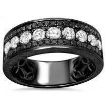 Mens 1 45ct Black & White Round Diamond Pave Wedding Band Ring 14k Black Gold