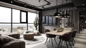 grey modern industrial apartment interiors