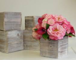 Wood Box Boxes Woodland Planter Flower Pot Square Vases Wedding Wooden Rustic Chic