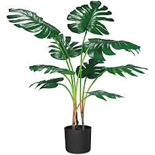 crosofmi artificial monstera deliciosa plant 37 tropical palm tree faux swiss cheese plants in pot for indoor outdoor house home office
