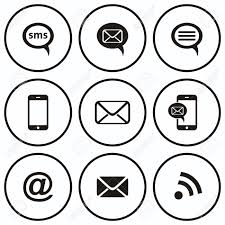 Round black and white buttons with munication icons mobile sms e mail