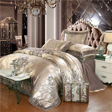 Gold silver coffee jacquard luxury bedding set queen king size