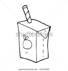 freehand drawn black and white cartoon juice box
