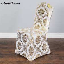 US $6.99 |Awillhome Gold Metallic Damask Stretch Banquet Chair Cover For  Wedding Home Decoration-in Chair Cover From Home & Garden On Aliexpress.com  | ... Silver Stretch Spandex Banquet Chair Cover Balsacircle 50 Pcs White Polyester Covers For Party Wedding Linens Decorations Dning Ceremony Reception Supplies Hunter Green 57 Lifetime Folding Fuchsia Free Shipping Whosale 100pcs Universal Arm With For Plastic Outdoor Slipcovers Ivory Your Champagne Slip Premium Quality Ruched Fashion Ebay Sponsored 10pcs Scuba