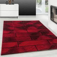 teppich modern designer kurzflor steinwand muster stein mauer schwarz rot farbe teppium teppich market