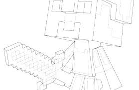 Minecraft Steve Coloring Pages Of Diamond Armor Printable