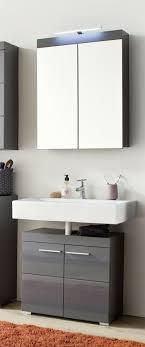 bad möbel set grau hochglanz badezimmer spiegelschrank