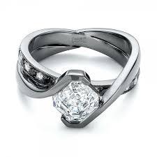 Custom Black and White Diamond Engagement Ring flat
