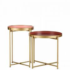 2er set beistelltisch mit rosafarbener innenseite verschiedene höhen golden metall