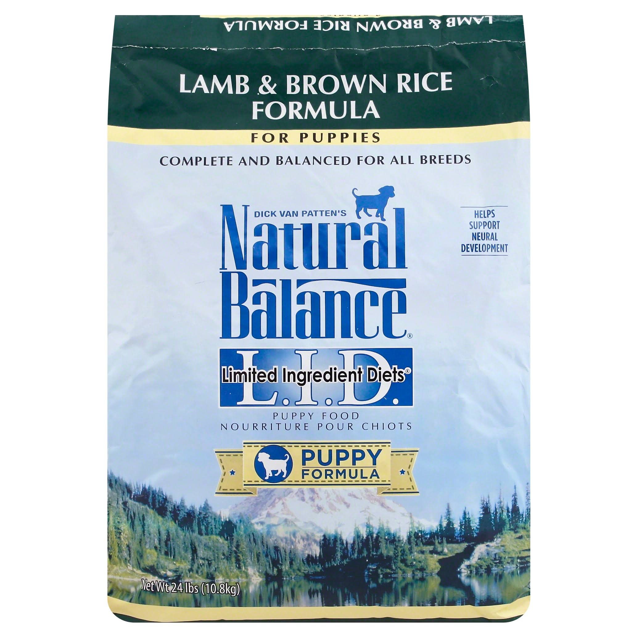 Natural Balance Puppy Formula L.I.D. Limited Ingredient Diets Dry Dog Food - Lamb and Brown Rice Formula, 24lbs