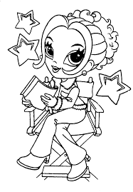 Coloring Pages Printable Girl Reading Drawings To Color And Print Bookss Stars Beautiful Chair Hair
