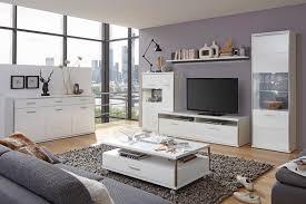 wohnzimmer travis 32 weiß hochglanz 6 teilig wohnwand sideboard tisch expendio