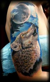 Wolves Are Frequently Related To The Moon Especially Werewolves This Interesting Tattoo Depicts An Intricately Detailed Wolf In Brown Made With A Deep