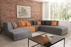 canapé d angle commandeur canapé d angle modulable contemporain en tissu gris pu orange