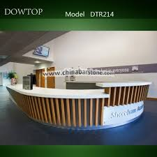 Modern Design White L Shape Wood Reception Counter And Artificial Marble Desk