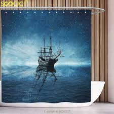 Polyester Shower Curtain Ocean A Ghost Pirate Ship on Dark Sea