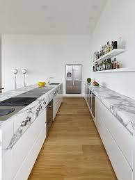 zweizeilige weiße küche mit modernen elektrogeräten modern