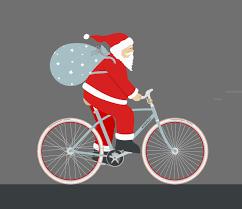 Santa Riding A Bike