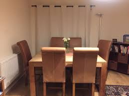 Rustic Wooden Dining Table 6 Leather Chairs