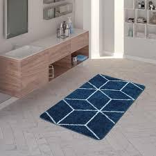 badematte kurzflor teppich für badezimmer mit rauten muster in blau weiß größe 80x150 cm