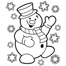 Printable Christmas Snowman Coloring Page