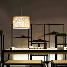 minimalismus hängeleuchte rund aus bambus für esszimmer