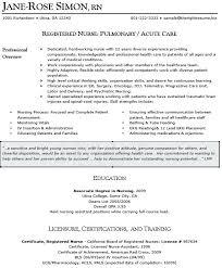 Er Nursing Resume Nurse Emergency Room Examples