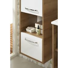 badezimmer hochschrank hängend weiß glanz und riviera eiche rovato 35 x 166 cm badschrank