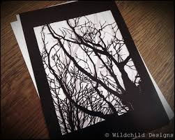 Haunting Gothic Winter Trees Paper Cutting Template Vinyl