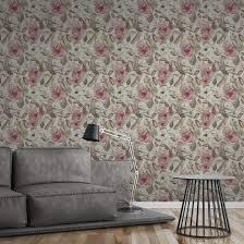 a s création vliestapete greenery tapete mit blätter motiv grün rosa grau