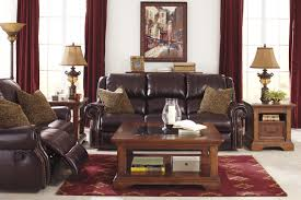 Ashley Furniture Living Room Set For 999 by Top Grain Leather Match Reclining Power Sofa With Nailhead Trim By