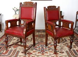 Antique Pair Large Armchairs Carved Walnut His And Hers Highback Chairs  19th Cen Rare Antique 19th Century American Gothic Handcarved Solid Oak High Back Black Leather Upholstered His Her Throne Chairs Vintage Handcarved Cane Highback Hooded Chair Set Of 8 62 Arts And Crafts Carved Oak Ding Chairs High For Kitchen Table Spanish Conquistador Contemporary Carved Wood Side 43 Sandy Brown Linen Natural Cedar Accent 31092775 About Us Italian Renaissance Style 20th Cent Mahogany Throne Chair With Lion Arms A Back Crest Stretcher Brown Country Armchair C Spning Bedroom Seating Russian Arm Newel Bishops Occasional Blue Lion