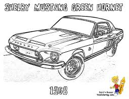 1968 Shelby Mustang Green Hornet Muscle Car Coloring Sheet