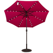 9 Ft Patio Umbrellas With Tilt by Solar Powered 32 Led Lighted Outdoor Patio Umbrella With Crank And