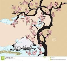 Japanese Design With Fuji Mountain And Sakua Tree