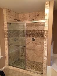 house splendid glass tile shower pictures sliced white pebble
