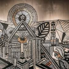 An Intricate Hand Painted Mural By Chilean Artist Nicolas Arroyo In A Starbucks Store Santiago Is Visual Collage That Evokes City Life