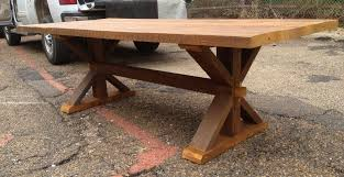 Cypress Harvest Table With Through Tenon And Mortise Joints