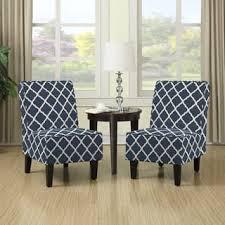Handy Living Wylie Navy Blue Trellis Print Armless Chairs Set Of 2