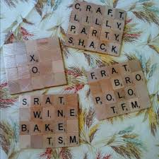 coasters i made from scrabble tiles and cork board sratty