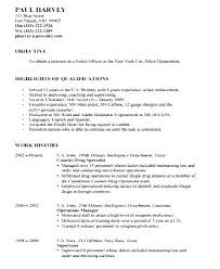 Ex Military Resume Examples Samples Sample Law Enforcement Resumes Police Officer Promotion
