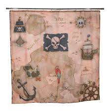 Pirate s Treasure 72 in Map Shower Curtain The Home Depot
