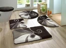 badematte schwarz grau weiss bad teppich bad garnitur neu