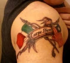Carpe Diem International Flags Tattoo On Right Shoulder Photo