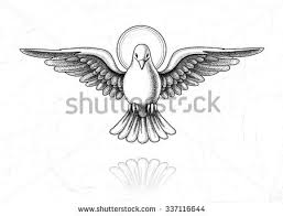 Vector illustration of Holy Spirit Dove in flight Vintage style of the image