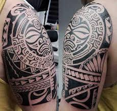 Magnificent Aztec Tribal Shoulder Tattoo Design For Boys