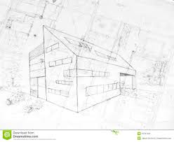 100 Modern Architecture Plans Drawing Od A Building Stock Photo