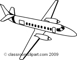 Black And White Airplane With Banner Clipart 139