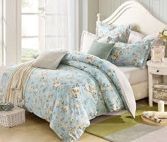 2016 New Design  Cotton Flower Garden Blue Bedding Set Queen
