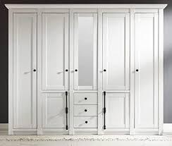 guenstigeinrichten kleiderschrank landhausstil hooge in pinie weiß landhaus drehtürenschrank 7 türig mit spiegel 236 x 206 cm schlafzimmerschrank